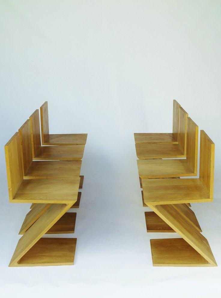 oak chairs by Gerrit Rietveld