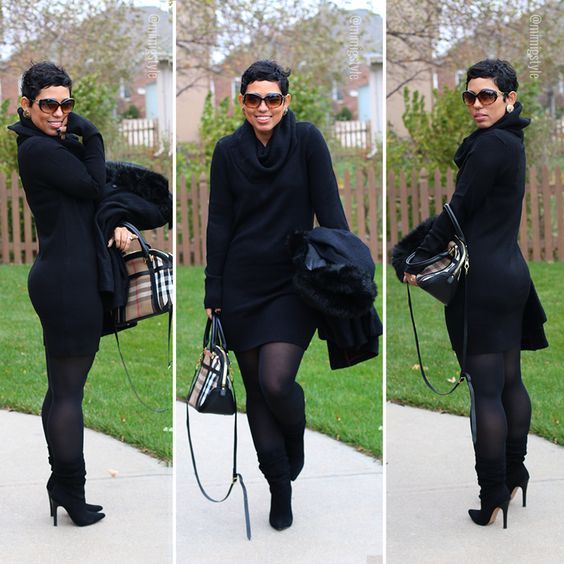 Black Sweater Dress + Slouchy Boots - #MimiGStyle #OOTD