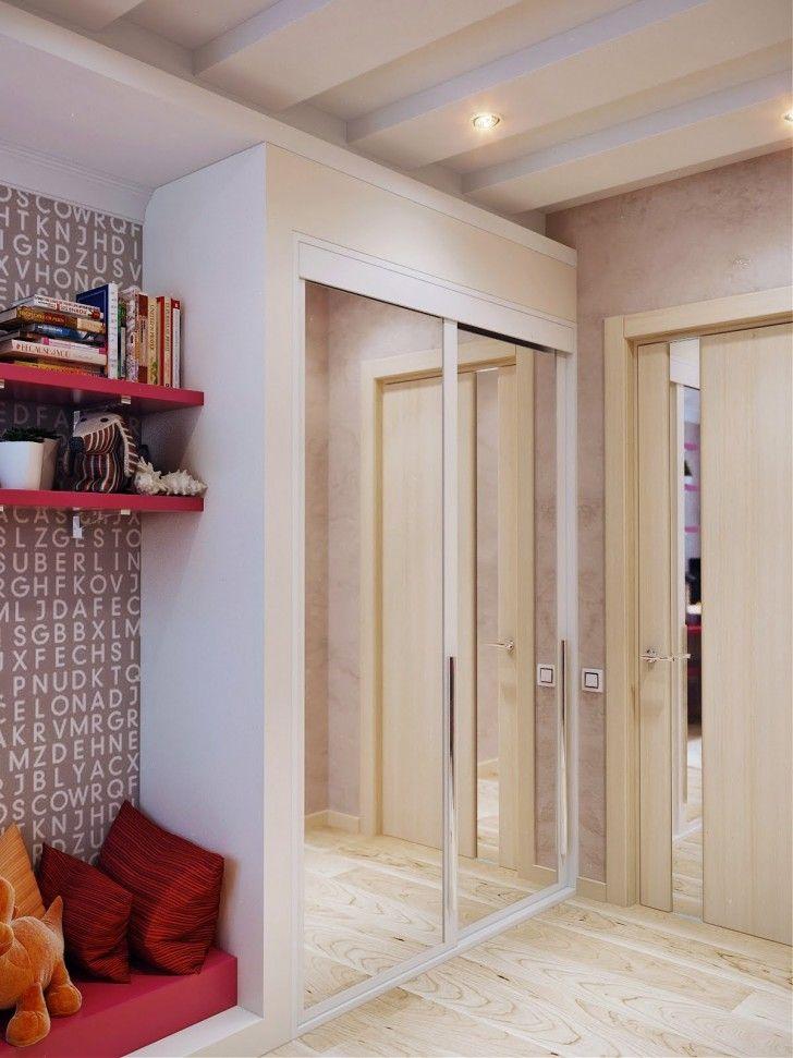 Bedroom, Wooden Floor White Mirrored Wardrobes Orange Dool Red Pillows Pink Bookshelves Wooden Door Luxury Modern Teenage Girls Room Books And Ceiling Lamps ~ Beautiful Teenage Room As Well As Possible