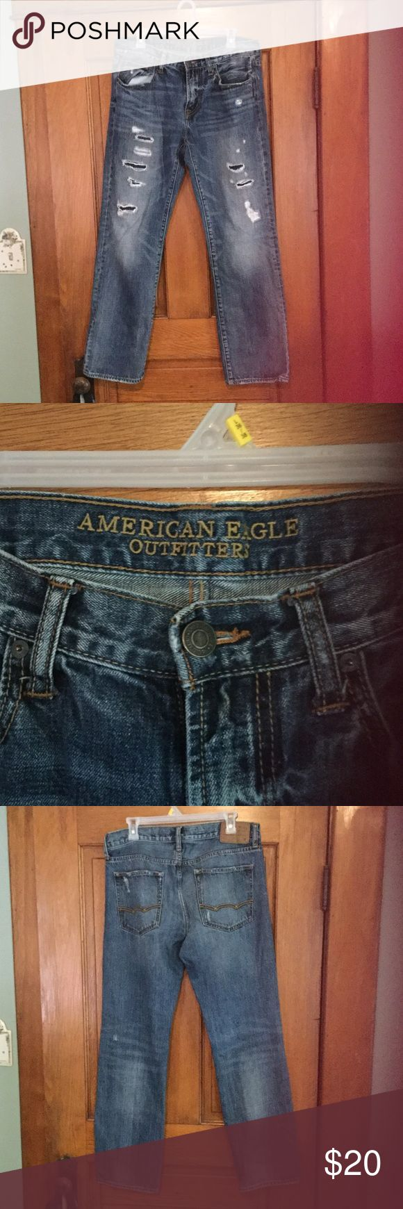 American Eagle men's jeans 32x32 Men's American Eagle jeans size 32x32. Original Straight. All cuts and holes are supposed to be there. Great condition!! American Eagle Outfitters Jeans Straight