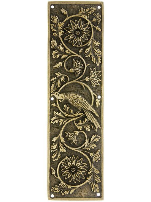Tropical Parrot Push Plate In Antique-By-Hand Finish. Brass Push Plates. - 8 Best Door Push Plate Images On Pinterest Plate, Antique