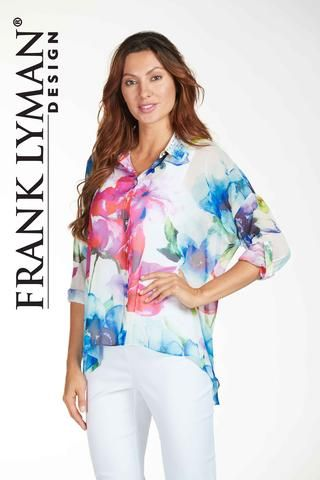 Frank Lyman 2017. Flattering floral print chiffon blouse with dolman sleeve in hi/low silhouette. Proudly Made in Canada
