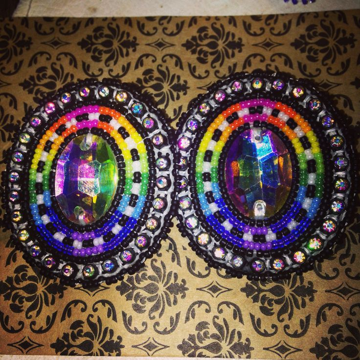 Made these! Beaded earrings Ta'neeszahnii Designs Native American Navajo made Pow Wow Glam Glitz Uptown Sparkles