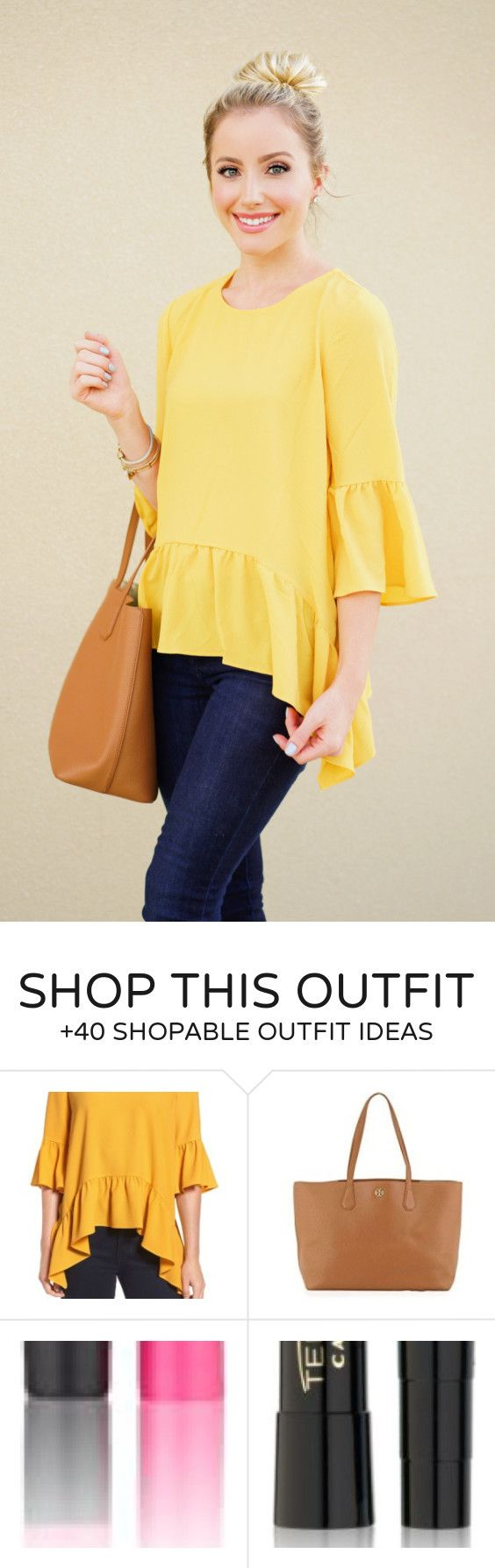 #fall #outfits women's yellow scoop-neck long-sleeve shirt and blue skinny bottoms
