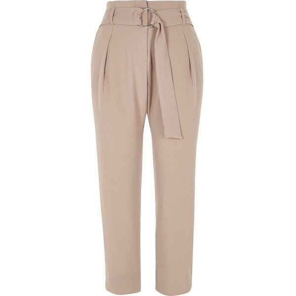 River Island Petite beige D-ring belt tapered pants ($76) ❤ liked on Polyvore featuring pants, beige, tapered trousers, women, tapered leg pants, brown trousers, beige trousers, river island and petite pants