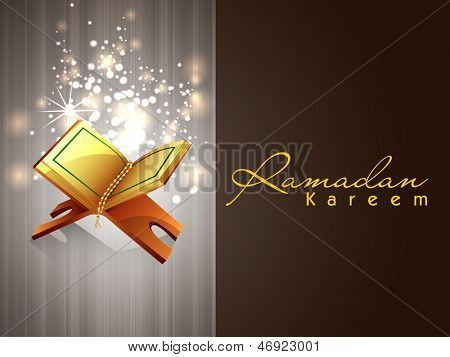 Open Quran Vector Card with open islamic