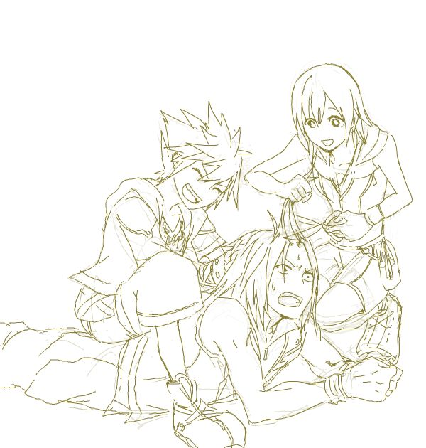 Sora, Riku, Kairi. Haircut! <---This makes sense by the logic of the games. Long hair on men leads to evil. They're just helping him out. ;) Also hurry up KH3!