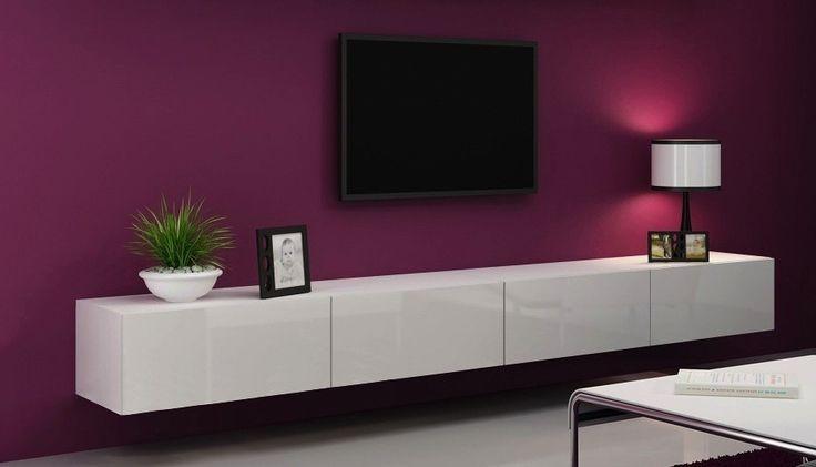 Victor zwevend tv-meubel 360 cm hoogglans wit