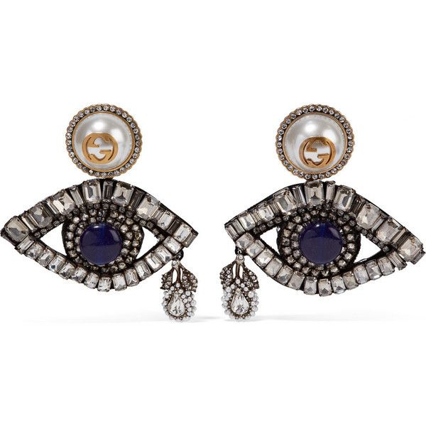 Gucci Gold-plated, Swarovski crystal and faux pearl clip earrings (£690) ❤ liked on Polyvore featuring jewelry, earrings, accessories, silver, swarovski crystal earrings, clip-on earrings, gold plated jewelry, earring jewelry and gold plated jewellery