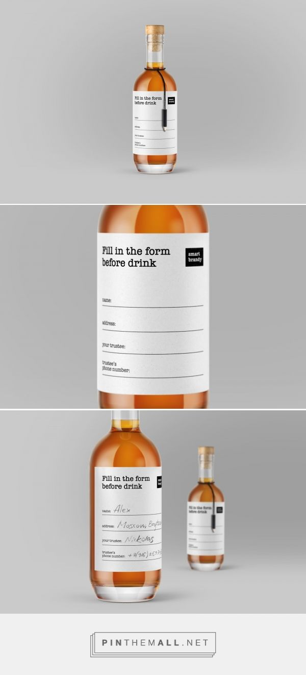 Will you fill up the form before drinking? Smart Brandy label design by Daria Kalenchuk - http://www.packagingoftheworld.com/2017/10/fill-in-form-before-drink-smart-brandy.html