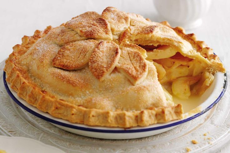 Serves 6 Ingredients * 350g plain flour, plus extra for dusting * 175g hard block margarine, plus extra for greasing * about 6 tbsp cold water * 1kg dessert or cooking apples * juice of 1 small lemon * 85g sugar, plus 1 tbsp to glaze * 1 1⁄2 tbsp cornflour * 1 tbsp milk, to glaze * special equipment * 23cm pie tin and a baking sheet