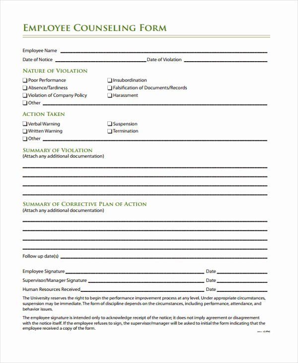 Employee Counseling Form Inspirational Free 47 Counseling Form Examples Counseling Forms Certificate Of Completion Template Counseling