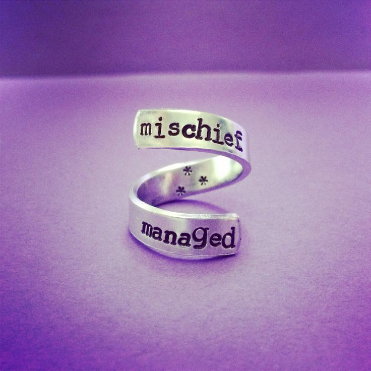 $6.50 or 2 for $10 Mischief Managed Adjustable Wrap Ring Harry Potter Inspired Hand Stamped Handmade