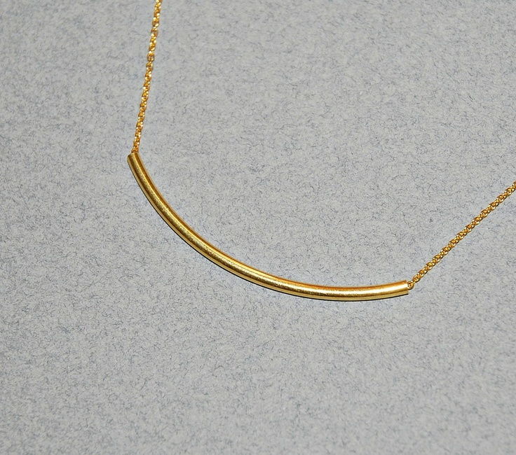 Gold bar necklace - long skinny curved gold vermeil tube - gold fill chain - women gift under 40 - classic sexy jewelry - Angela