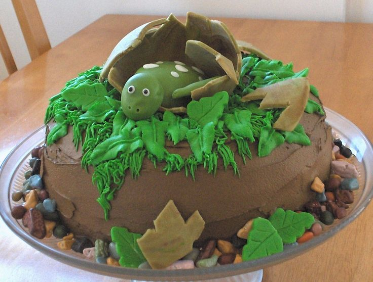 Dinosaur hatching egg cake