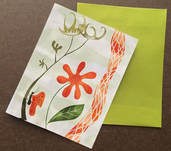Decorative flower card with translucent green or by HeidiYounger