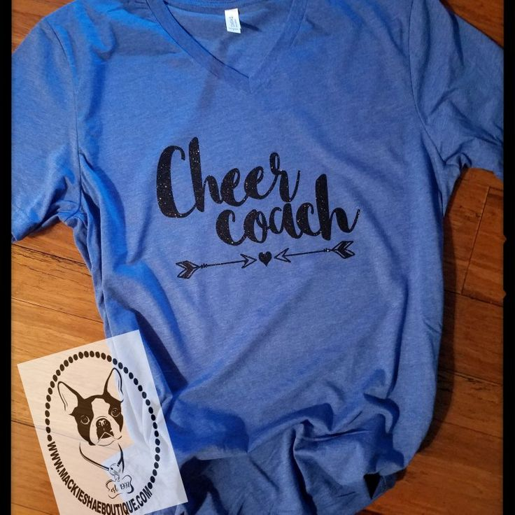 Fun...  Sparkly...  Cheer Coach Custom Shirt! Get this made on any color of your choice! This one was made with Black Glitter!  Customize and Order here-->>>  http://www.mackieshaeboutique.com/apps/webstore/products/show/7269510