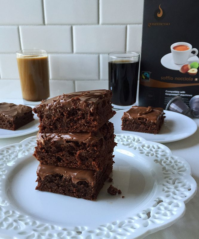 Extra Fudgy Frosted Hazelnut Espresso Brownies. This brownie recipe is dense, ooey gooey, laced with espresso to intensify the chocolate flavor, and then topped with Nutella frosting!