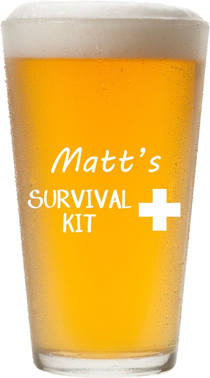 Any Name Personalized Survival Kit Pint Glass, 16 oz Beer Glass Permanently Etched - Gift for Dad, Co-Worker, New Dad Gift, First Father's Day - PG14-C. Item Details... ~ Customization with any name is included! ~ MADE IN AMERICA from durable, quality thick glass ~ Holds 16 oz of your favorite brew or drink ~ Engraving is on one side of the glass ~ Etching is perfectly smooth, permanent and DISHWASHER SAFE! (because there are better things to do than the dishes) ~ It's the perfect, funny…