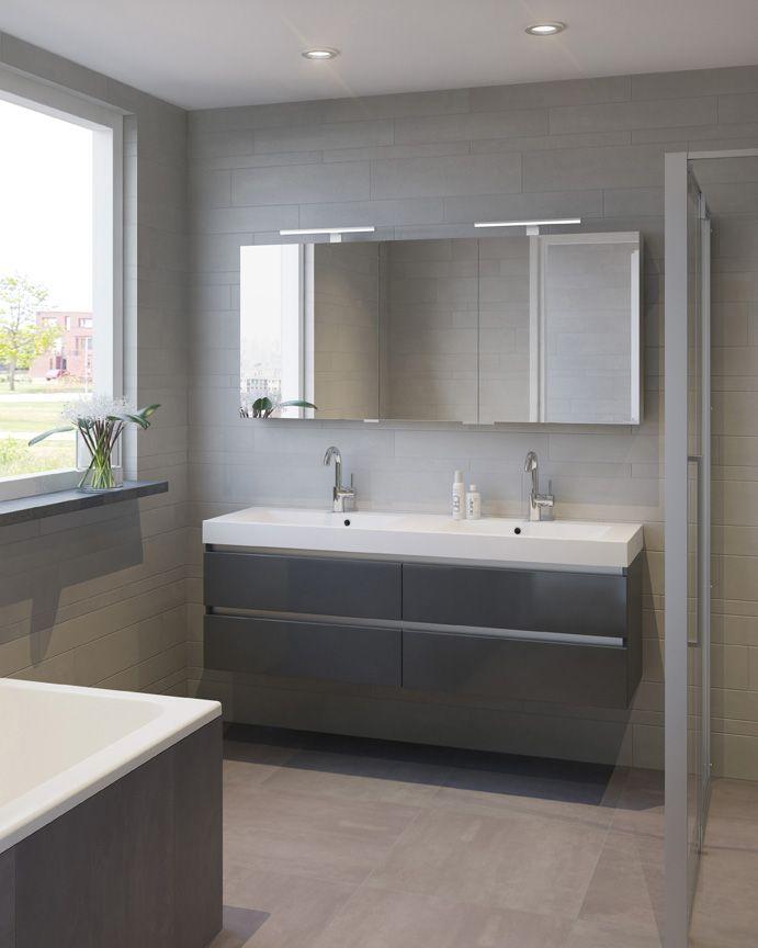 Bruynzeel badmeubel Palitano 160cm antraciet dubbele wastafel / badkamerkast / badkamer idee / meuble salle de bain anthracite