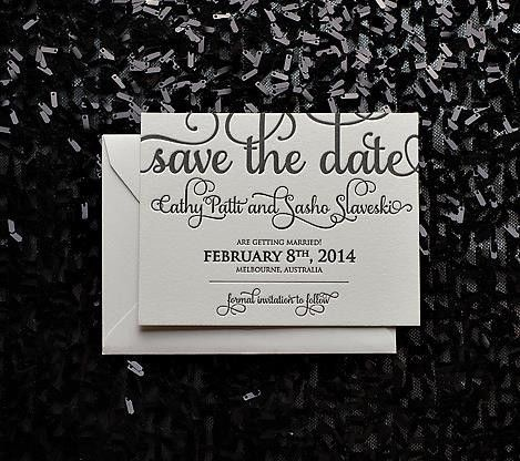 Black & White Calligraphy Letterpress Save the Date // ADELE Collection // JUST INVITE ME, http://justinviteme.com/collections/save-the-date-in-style