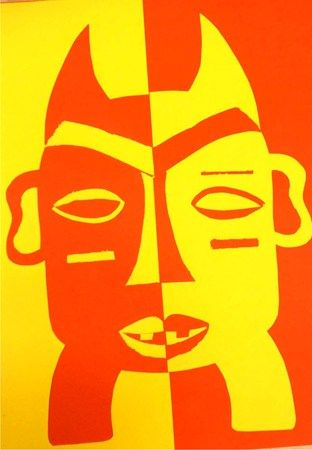 African Mask - 2D Positive vs Negative Space - Artsonia Art Museum :: Artwork by Amber6024