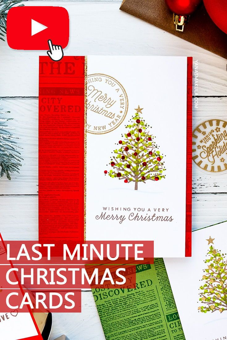 Learn How To Make Last Minute Christmas Cards Using Stamps Inks Watch Video Tutorial To Lear Christmas Cards Christmas Tree Cards Christmas Card Inspiration