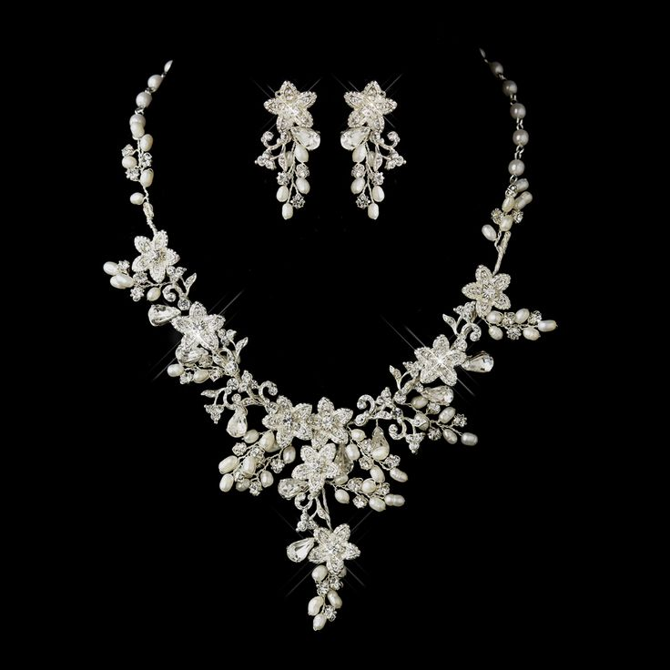 Make A Statement In This Glamorous Freshwater Pearl Fl Wedding Jewelry Set Affordable Elegance Bridal