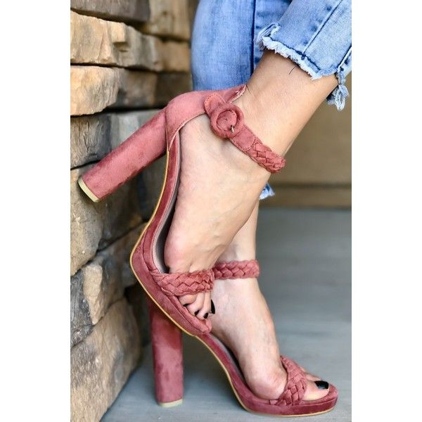 PINK BLUSH SUEDE OPEN TOE WEAVE STRAP AND ANKLE STRAP CHUNKY HIGH... ($17) ❤ liked on Polyvore featuring shoes, pumps, 6 inch heels, 6 inch high heels, chunky heels, cut out lace up heels, fashion heels, chunky-heel pumps, open toe pumps and pink open toe pumps