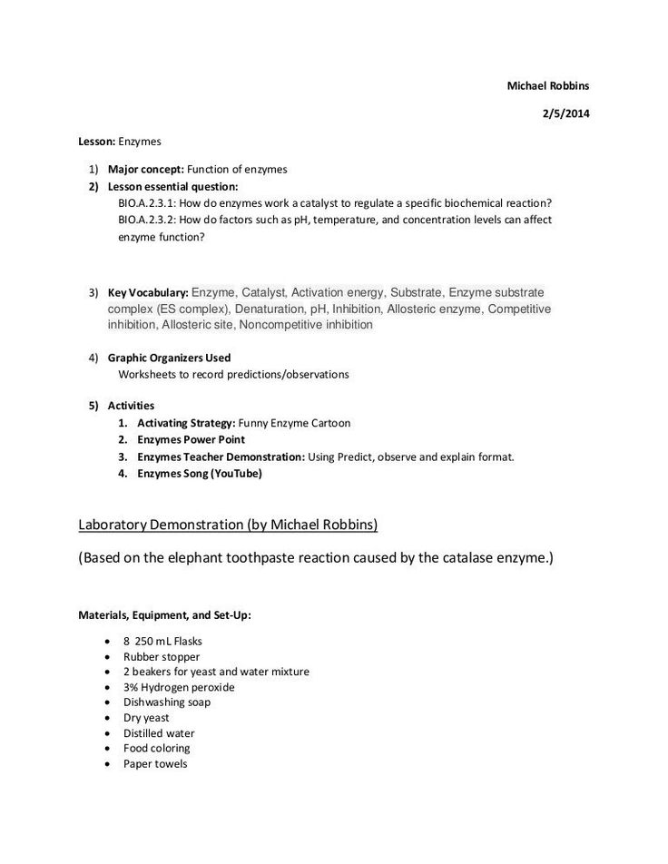 Enzyme Reactions Worksheet Answer Key Enzymes Lesson in