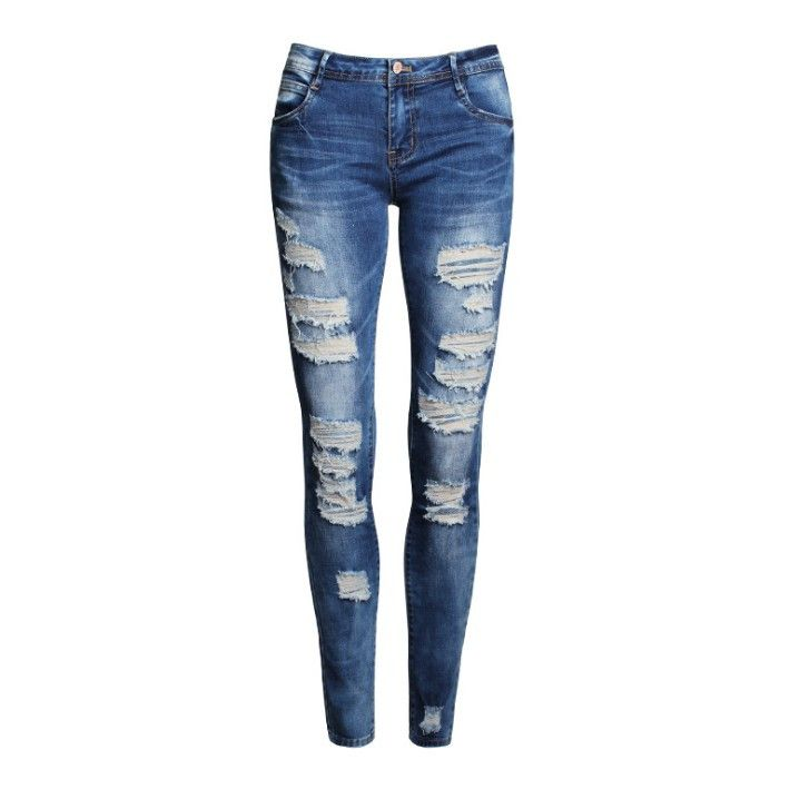 Hot Fashion Ladies Cotton Denim Pants Stretch Womens Bleach Ripped Skinny Jeans Denim Jeans For Female