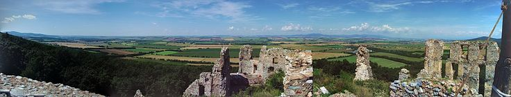 Oponice castle 2016. Panoramic view from the early Gothic tower on Ponitrie