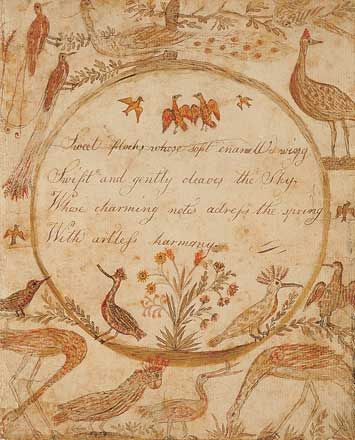 """""""Sweet Flocks""""                                  Betsy Lewis (1786–1818)  Dorchester, Massachusetts  1801  Ink and watercolor on paper"""