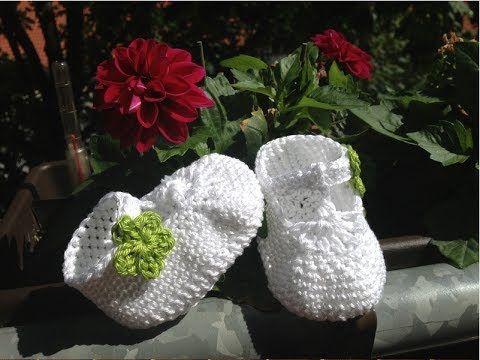 Escarpínes de bebe con correa en crochet - Instrucción zapatitos de BerlinCrochet - Parte4, Adorno - YouTube