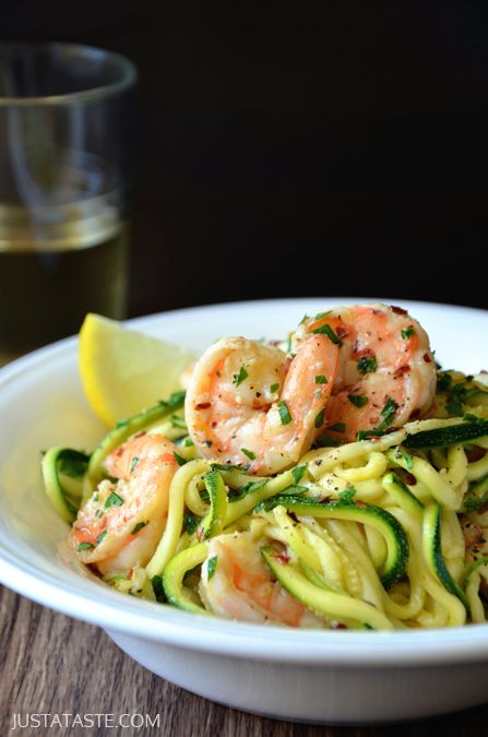 Skinny Shrimp Scampi with Zucchini Noodles - My friend made this and subbed the olive oil with ghee, used chicken stock instead of white wine, and used twice the amount of zucchini. She said it was amazing!