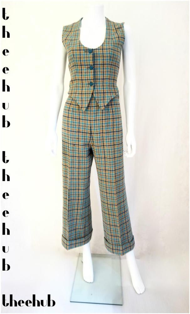 Vtg 70s Northern Soul Tweed Tartan 2 Piece Suit Waistcoat Flare Trousers Midi