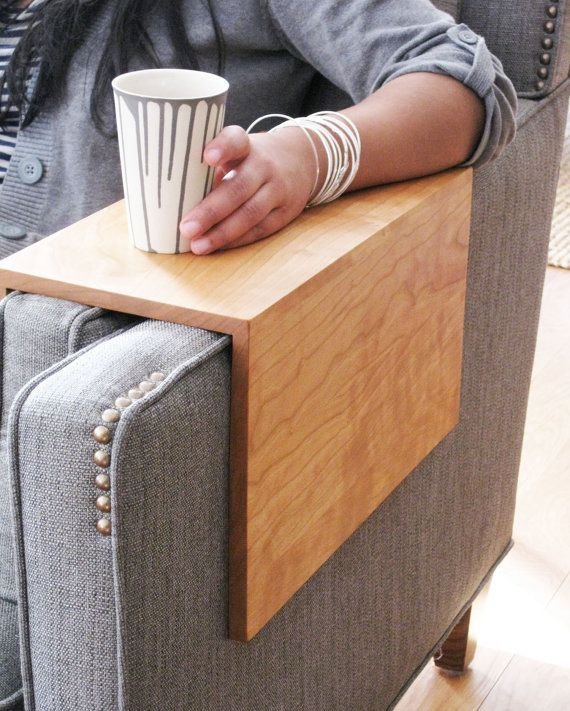 Couch Arm Wrap - SOLID WOOD custom arm drink rest laptop table for straight arm sofa via Etsy