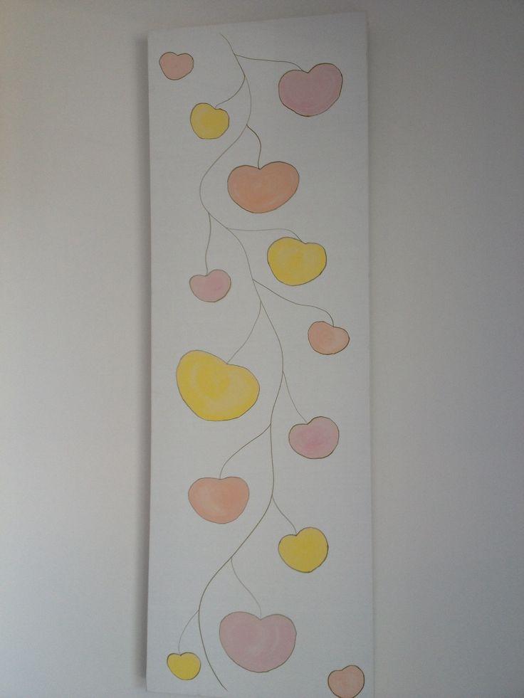 Lemon pink orange vine acrylic