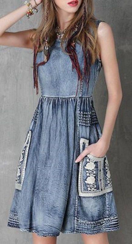 Sweet Floral Embroidery Jewel Neck Denim Sundress #Sweet #Floral #Embroidery…