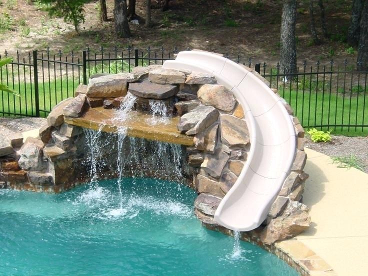 Inground Pool Slide Pool Slide Stone Swimming Pools Inground Swimming Pool Slides Pool Remodel