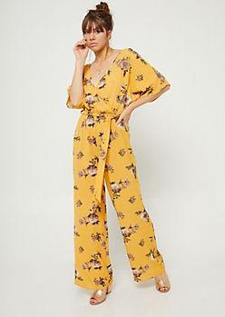 f6f3ffc6a85 Yellow Floral Print Wide Leg Jumpsuit