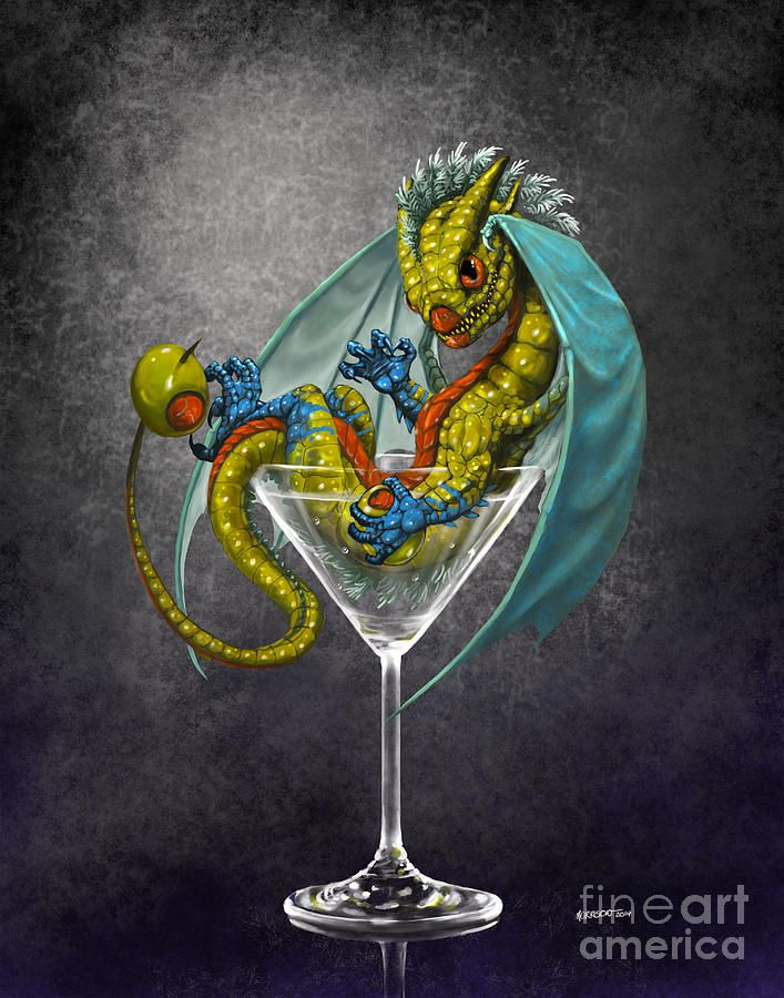 Dragon Digital Art - Martini Dragon by Stanley Morrison