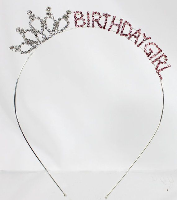 Adorable crystal Birthday Girl crown headband in silver tone with sparkly crystals! Let this be the beginning of your creativity. You can use it as is or decorate it with ribbons, flowers and sparkle for the birthday girl! We would love to see your finished product so please post it to our instagram or pinterest. Whether she is turning 15, 16, 21 30, 40, 50…to 100 she will be beautiful and feel like a princess with this special headband. You can start a birthday tradition with this headband…