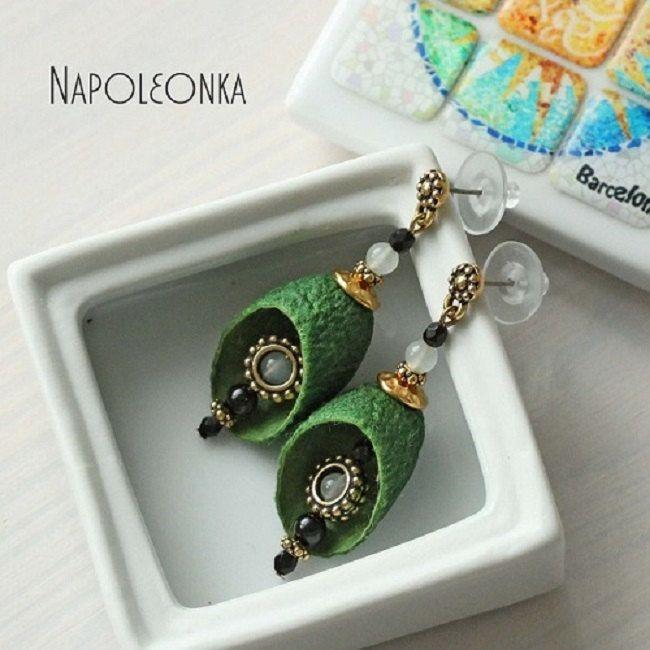 Silk cocoon earring Silkworm earring Jewelry silk cocoon Silk cocoon jewelry Cocoon earrings Silk worm Silk cocoon Green earrings Cocoon by Napoleonka on Etsy