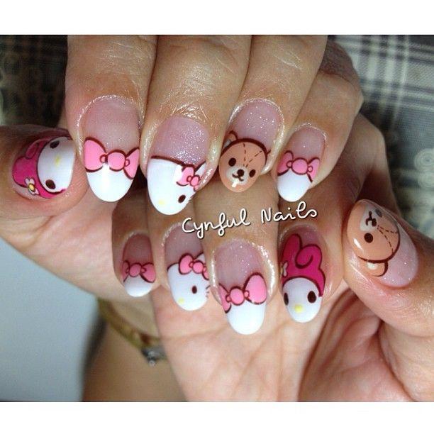 hello kitty  by cynfulnails  #nail #nails #nailart