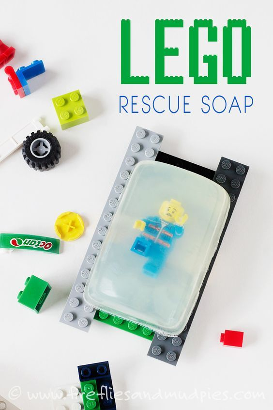 Fun DIY Stocking Stuffer! LEGO Rescue Soap convinces even the most reluctant hand-washers to get scrubbing!   Fireflies and Mud Pies