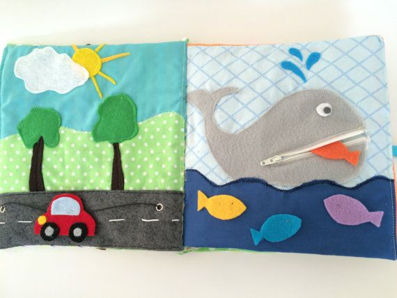 Quiet Book for Toddlers Boy Themed 12 Pages by VividLeaf on Etsy