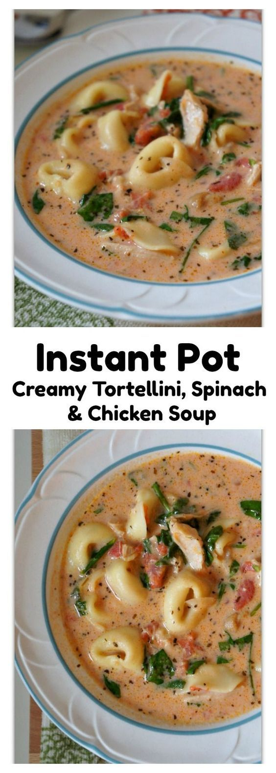 Instant Pot Creamy Tortellini, Spinach and Chicken Soup–creamy tomato based soup with bites of tender chicken, cheesy tortellini and fresh bright green spinach. This version is made in the electric pressure cooker and is a quick and easy one pot meal. Everyone in my house loves this soup and I love making it for friends too. I've never heard a complaint when I've made this soup!
