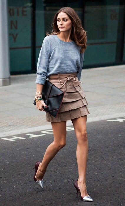 Mocha layered skirt, sky brindle shirt, chocolate/silver pointilettos, chocolate locks ~ Olivia Palermo