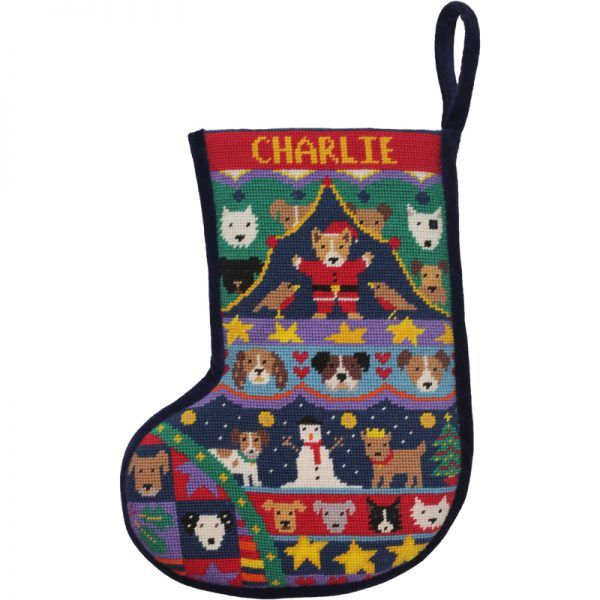 Puppies Christmas Stocking  Julestrømpe fra Engelske Jolly Red
